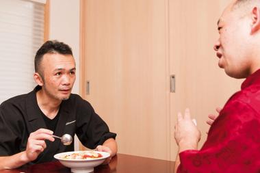 海鮮と旬菜のクリームフカヒレ丼 開発風景1